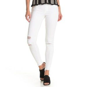 HUE Ripped White Denim Skimmer Leggings XS…